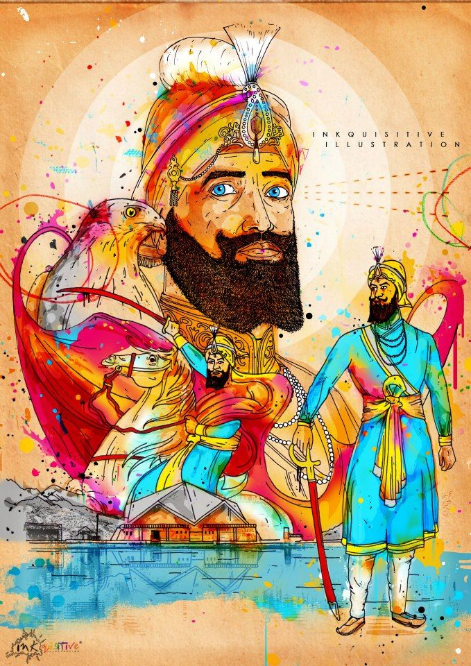 Guru Gobind Singh Ji - inkquisitive illustration