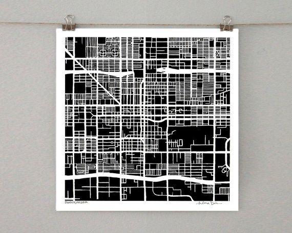 Phoenix Arizona Map Ink Drawing 8x8 City Print by SaltyLyon, $16.00