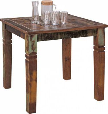 Wohnling WOHNLING Esszimmertisch DELHI 80 X 80 X 76 Cm Mango Shabby Chic  Massiv Holz | Design Landhaus Esstisch Bootsholz | Tisch Für Esszimmer  Rechteckig ...