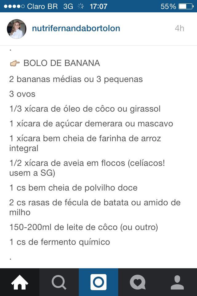 Bolo de Banana com polvilho