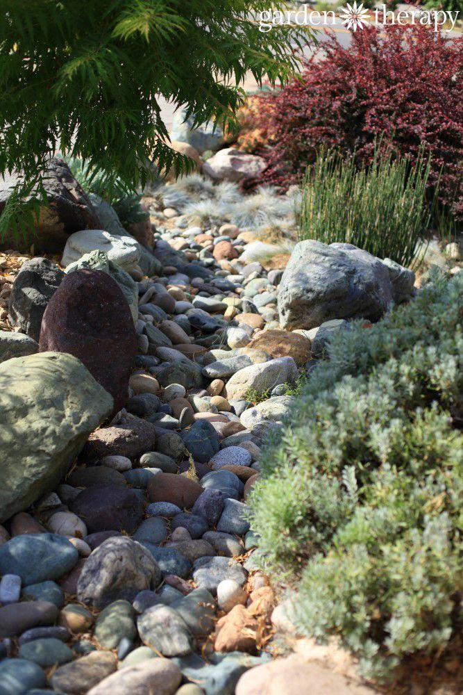 Dry river bed as part of drought tolerant landscape design  #landscapedesignforbackyard - Dry River Bed As Part Of Drought Tolerant Landscape Design