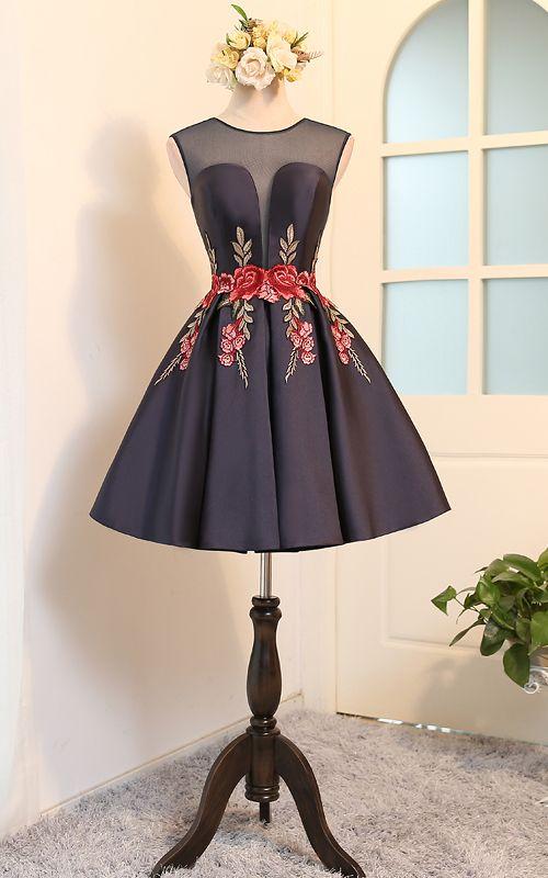 Knee Length A Line V Neckline Navy Cap Sleeve Ruched Appliques Satin Short Homecoming Dress