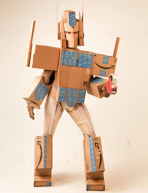 Amazon boxes Transformers = Amazon Prime Halloween costume - CNET Enlarge Image Autobots deliver! Jason Hackett/Fusion Marketing Earth is threatened by a malevolent species of sentient robots. You also need a refill of toilet paper and some cucumber-mint-scented hand sanitizer and you need them fast. Who are you going to call? Amazon Prime defender of both our planet and two-day shipping. Caron Arnold cr