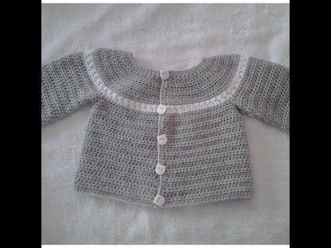Chaquetita o chambrita a crochet para bebe parte 1 #tutorial #DIY - YouTube