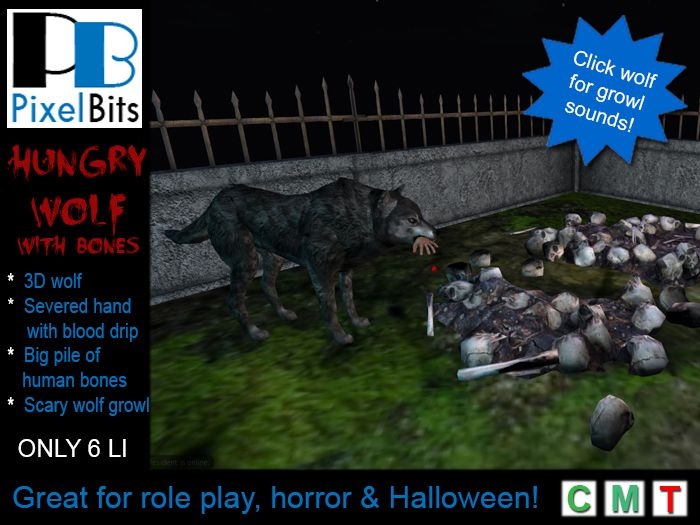 PB - Hungry Wolf with human bones. Click for sounds!