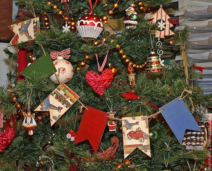 """Купить Любимые флажки """"Ретро-Новый год"""" - флажки, гирлянда на елку, новогодняя игрушка"""