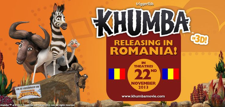 News Flash!! Khumba is releasing in theatres in Romania on the 22nd of November!   To all our Romanian fans… spread the word! Please  You don't want to miss your chance to catch the film while it's on the big screen. It rocks in 3d! Promise.  #KhumbaMovieRomania
