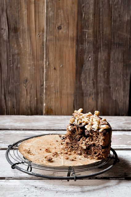 coffee cake with chocOlate & chestnut ricotta & ganache