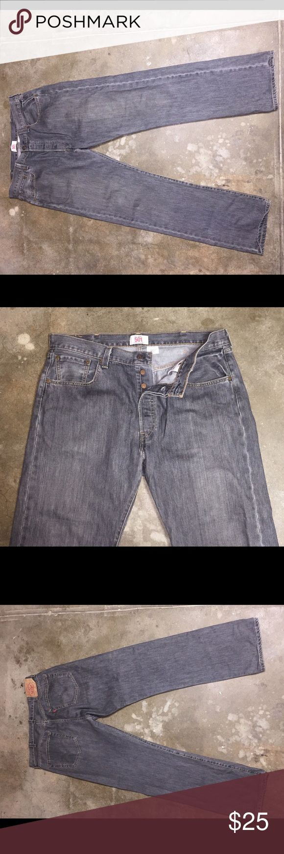 Levi's 501 38 X 34 Jeans Washed Out Straight Leg Up for sale is a pair of Levi's classic 501 jeans in size 38 x 34 in washed out grey. These are in excellent condition. Levi's Jeans Straight