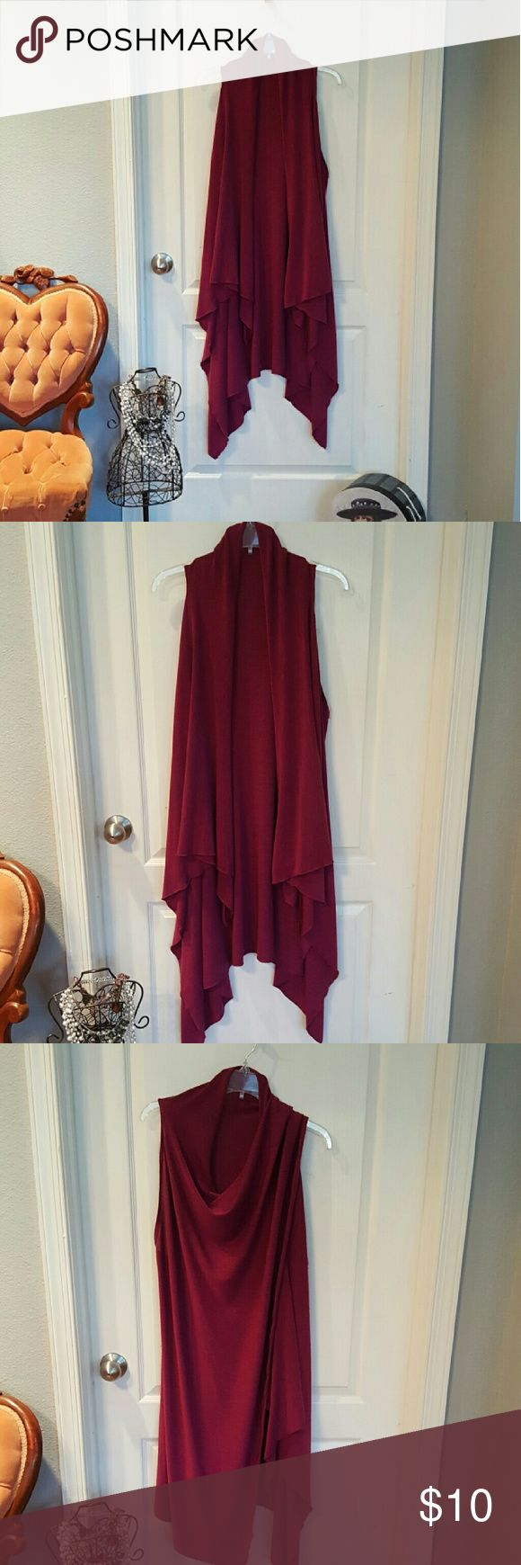 Flowy duster/wrap Lovely, long duster or wrap can be worn different ways. Color is a deep purple or raspberry. Excellent condition. Smoke free home. Tops