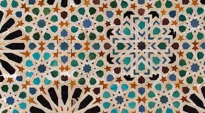 Alhambra Palace, Granada Spain. 15th Century. Moorish Design. Mosaic ceramic tiles.