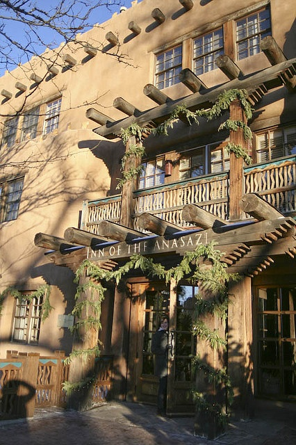 Inn of the Anasazi in Santa Fe, New Mexico.  The aroma of cedar always reminds me of our stay here.  We were there at Christmas one year.