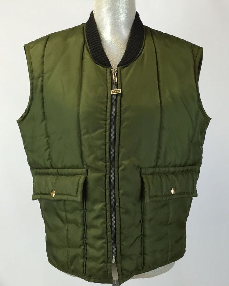 Vintage Mens Walls Blizzard Pruf Green Vest Texas Made Insulated Outwear