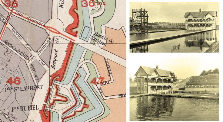 """In 1920 waren de na-oorlogse omstandigheden, de tijdsdruk en het beperkte budget de oorzaak dat de zwemwedstrijden van de """"VIIde Olympiade"""" gehouden werden  in een tijdelijk opgericht """"Olympisch"""" buitenzwembad aan de Jan Van Rijswijcklaan (Wezenberg), dat gevuld werd met water uit de vestinggrachten van de Brialmont omwalling"""