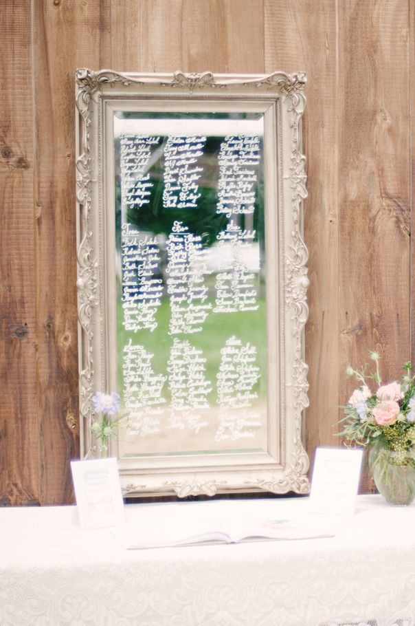 Vintage mirror used as a seating chart. Photo by Honey Honey Photography. www.wedsociety.com #vintage #wedding #seatingchart