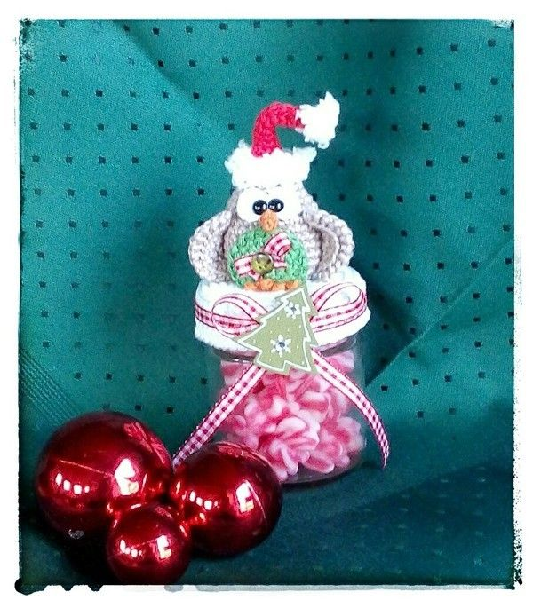 Häkelanleitung Mrs. Weihnachtseuli / Dekobezug für Marmeladenglas/ Deckelbezug für Bonbonglas