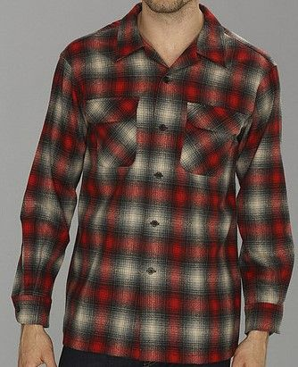 New Pendleton Men's Shadow Plaid Hipster Historic Pattern Fitted Board Shirts Red/Black/Beige Ombre Size XL In Stock Now