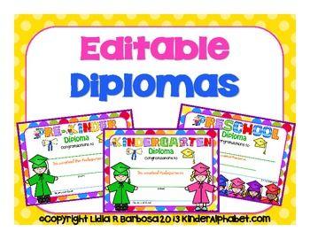 65 best kinder graduation images on pinterest 1st grade centers editable diplomas english kindergarten graduationkindergarten yadclub Images