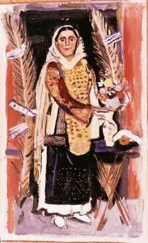 ΓΙΑΝΝΗΣ ΤΣΑΡΟΥΧΗΣ  Ελληνική Φορεσιά», λάδι σε μουσαμά