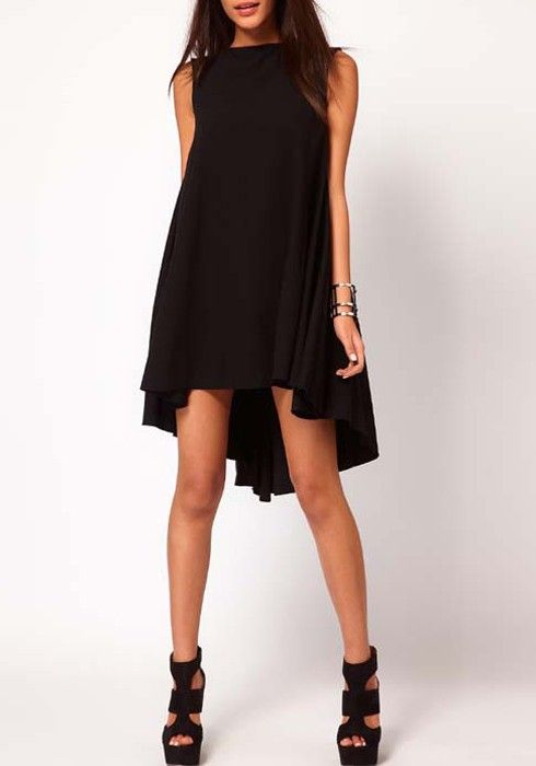 Black Irregular Sleeveless Above Knee Chiffon Dress