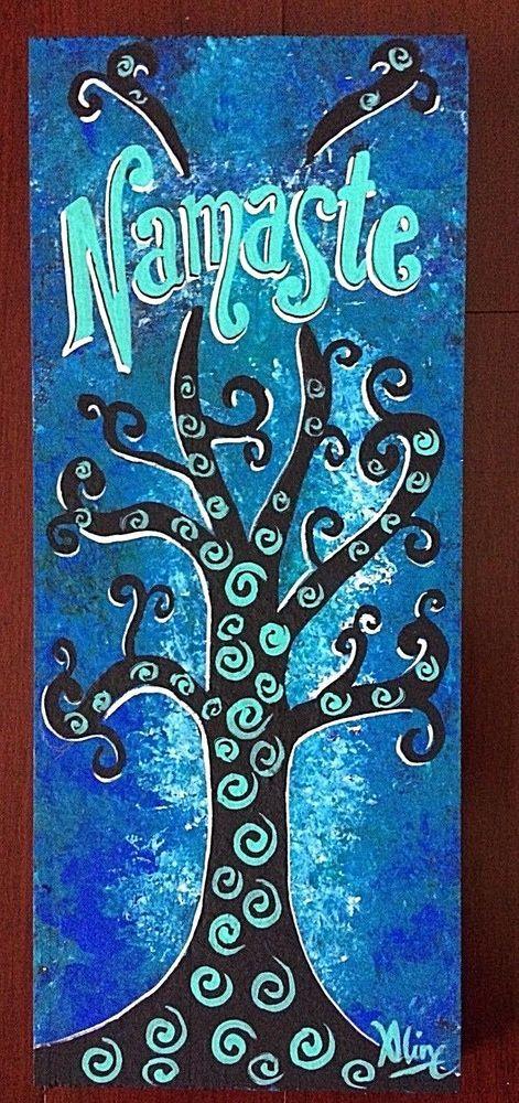 Namaste Zen painting ORIGINAL buddha yoga folk art Aline Cross wood wall art