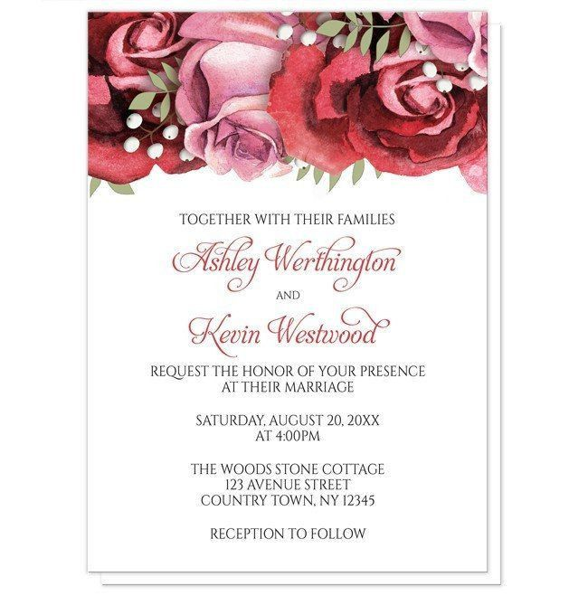 If you were celebrating something these next 12 months, would the design on these Burgundy Red Pink Rose Wedding Invitations inspire you? Let me know in the comments.   Floral Wedding invitations (with optional matching RSVP reply cards) designed with a beautiful burgundy red and pink roses arrangement at the top over your custom printed ceremony details.
