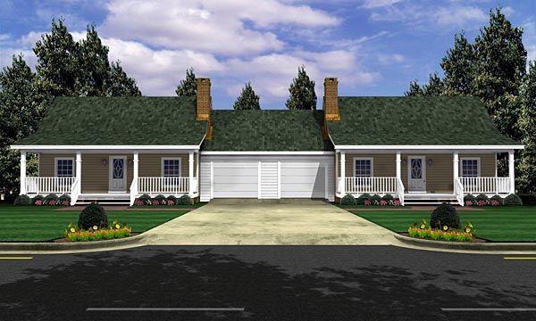 Duplex Plan chp-18935 elevation at COOLhouseplans.com