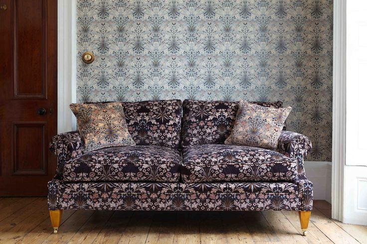 Part of the HOUSE OF HACKNEY x WILLIAM MORRIS AW15 collection: Hyacinth Dove Grey Wallpaper http://www.houseofhackney.com/hyacinth-wallpaper-dove-grey.html, Hyacinth Black 'Wilton' Sofa http://www.houseofhackney.com/hyacinth-wilton-sofa-black.html,  Hyacinth Dove Grey Medium Velvet Cushion http://www.houseofhackney.com/hyacinth-medium-velvet-cushion-dove-grey.html