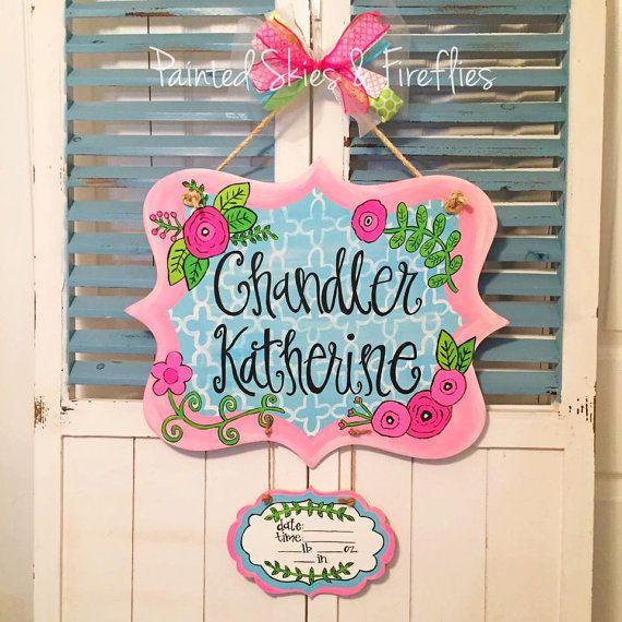 Birth Announcement Door Hanger / Nursery by paintedskyfirefly