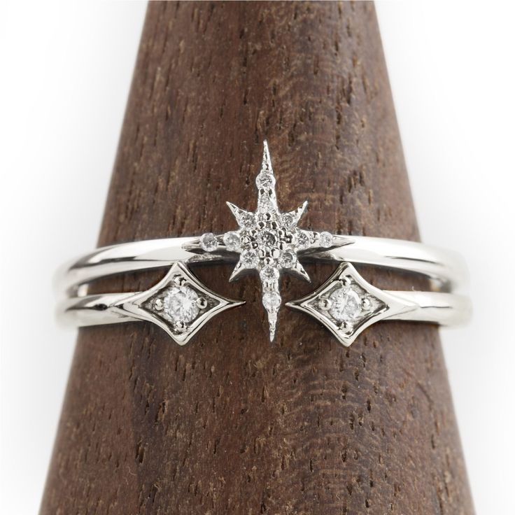 Make a wish everyday because you have a shooting star on your finger. The Starburst Diamond Ring features .04ctw diamonds and matches perfectly with double star open ring featuring .03ctw diamond. Can