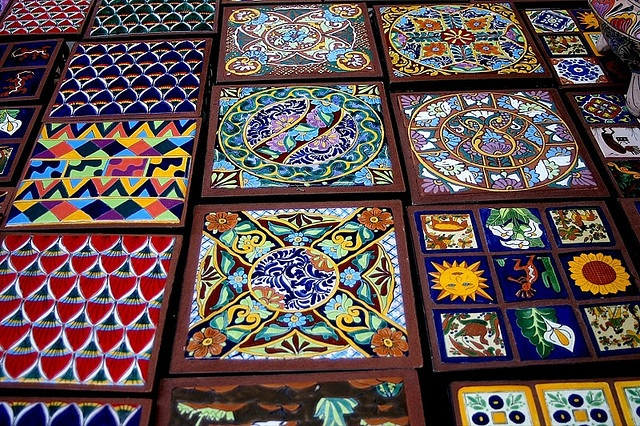 Colorful mexican ceramic tiles for sale in Nogales, Mexico