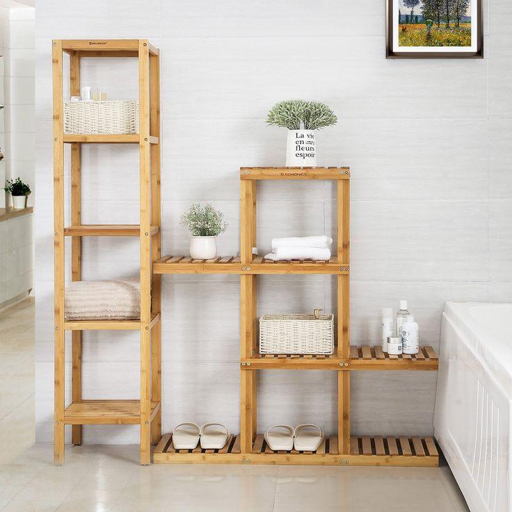 amazon  songmics bamboo wood plant stand shelf flower