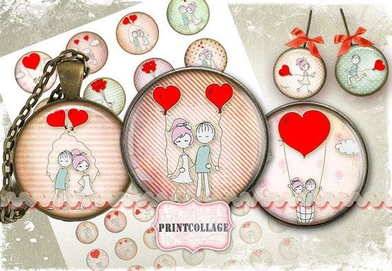 Digital Printable Sheets Cabochon images 1.5inch by PrintCollage, $4.30