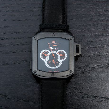 Uhr-Kraft HeliCop III Automatic // Black   — Automatic Miyota Movement  — 29mm Leather Strap with Buckle Closure  — 47mm Silver Stainless Steel Case  — Black Dial  — Hardened Mineral Glass  — Power Reserve Indicator  — Chronograph with Retrograde Date Display  — 100 Meter (10ATM) Water-Resistent  — Multiple Time Zone Displays