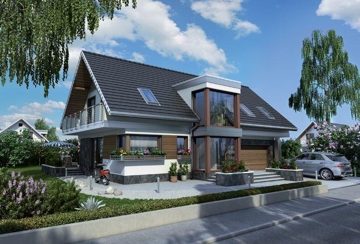 Czyste  linie i prosty dach wyróżniają projekt domu Kalipso spośród innych o powierzchni ok. 150m2 z dwustanowiskowym garażem. Najbardziej przykuwają uwagę wysokie, przeszklone ryzality, zbudowane symetrycznie względem kalenicy w ścianie frontowej  i ogrodowej.