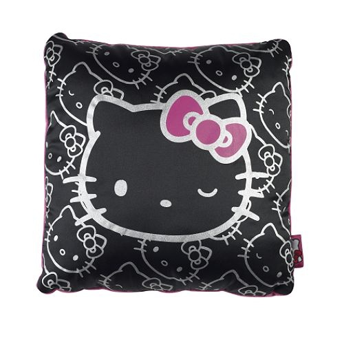hello kitty black satin pillow <3