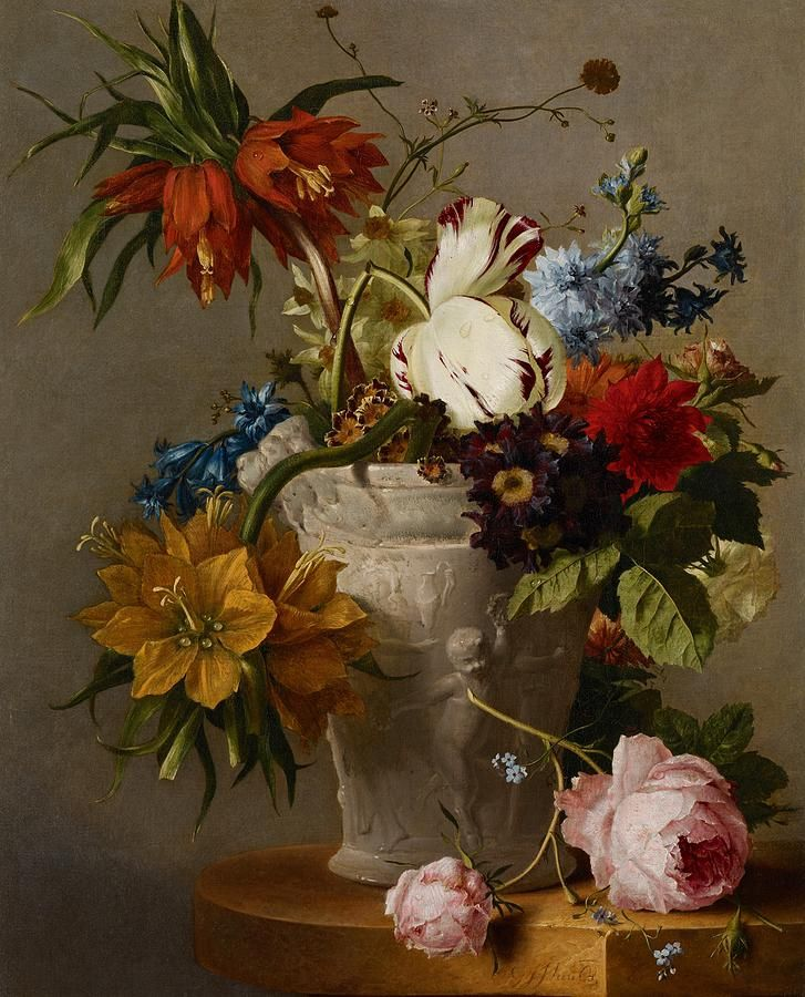 Georgius Jacobus Johannes van Os( 1782-1861) —  An Arrangement With Flowers(797x900)