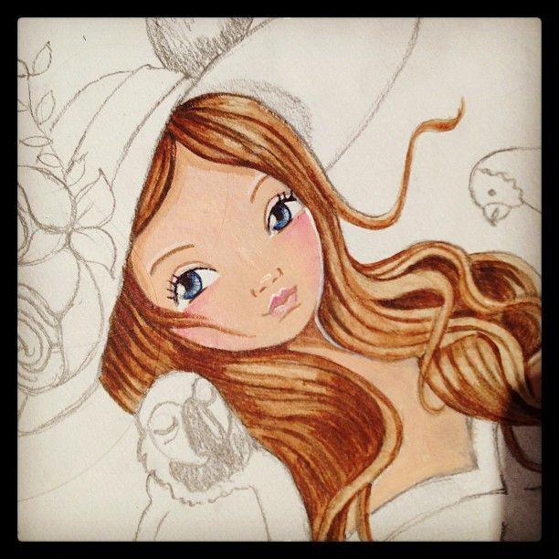 © Cartita Design #illustration #workinprogress #drawing #girl #birds #painting