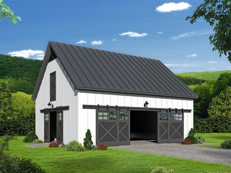 062b 0009 Flexible Outbuilding Plan Offers Loft Storage 36 X30 Garage Plans With Loft Farmhouse Style House Plans Farmhouse Style House