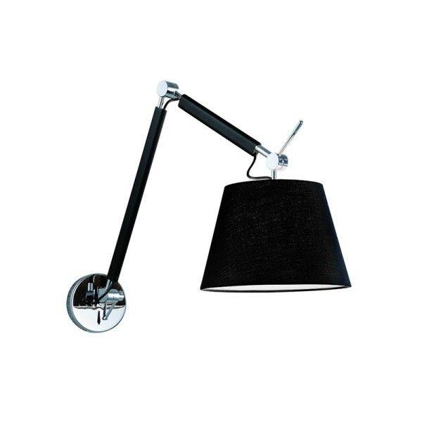 Lampa Kinkiet Abażur CZARNY Na WYSIĘGNIKU 1pł ZYTA