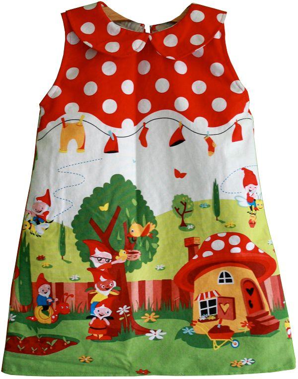 Kostenloses Schnittmuster für ein Kleid mit Peter-Pan-Kragen für Kleinkinder