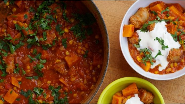 A simple, 3-step, sausage casserole recipe...for Slimming World - syn sausages and serve with fat free yoghurt or fromage frais