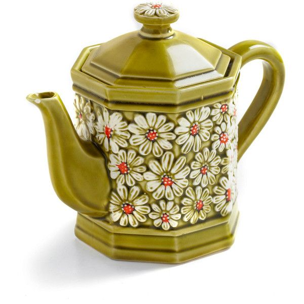 Vintage Make Your Daisy Teapot ($17) ❤ liked on Polyvore featuring fillers, home, decorations, other and green
