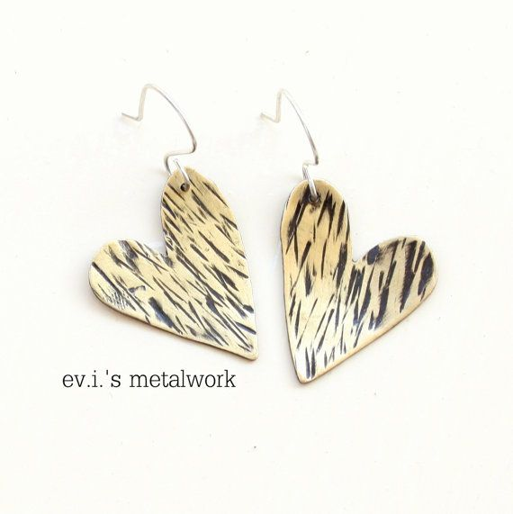Tiny Striped Hearts Black Drop Earrings Brass by evismetalwork, €19.00