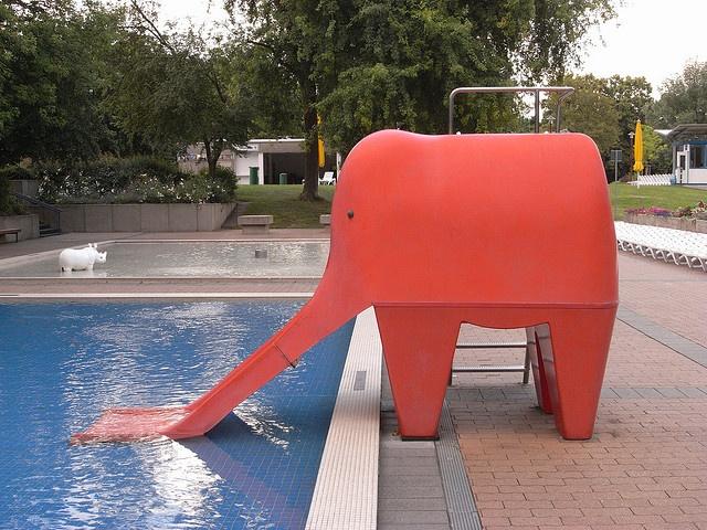 Cool elephant water slide!