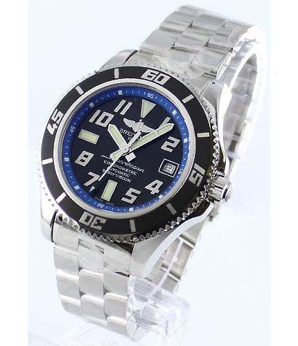 ブライトリングエアロマリン スーパーオーシャン 42 1500M防水 ブラック&ブルー メンズ A187B30PRS -ブライトリング時計コピー
