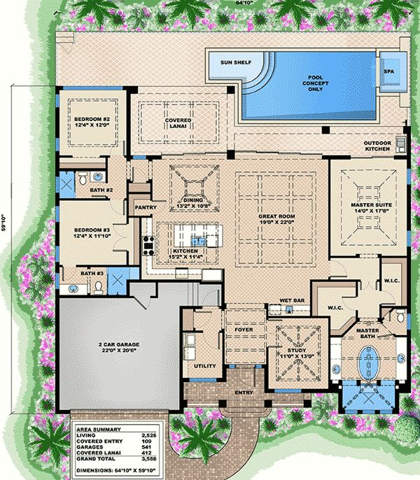Plan 66318WE: 3 Bed West Indies House Plan | West Indies, Bedrooms And House
