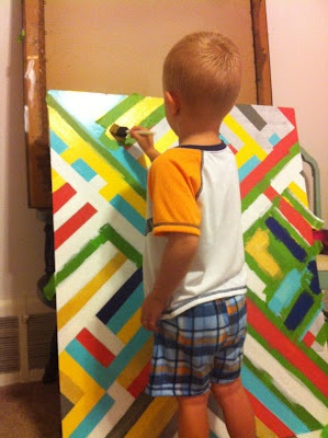 DIY art for kids.. Would be fun to have each kid make the art for their room and it doesn't look too kiddish