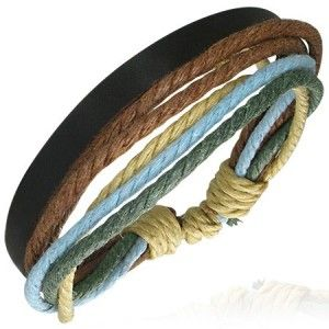 Surfer Style Mens Brown & Blue Leather & Cord Wristband Bracelet