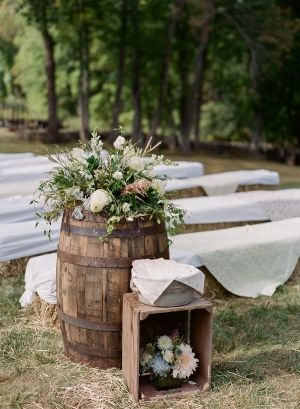 Outdoor rustic wedding seating and decor.